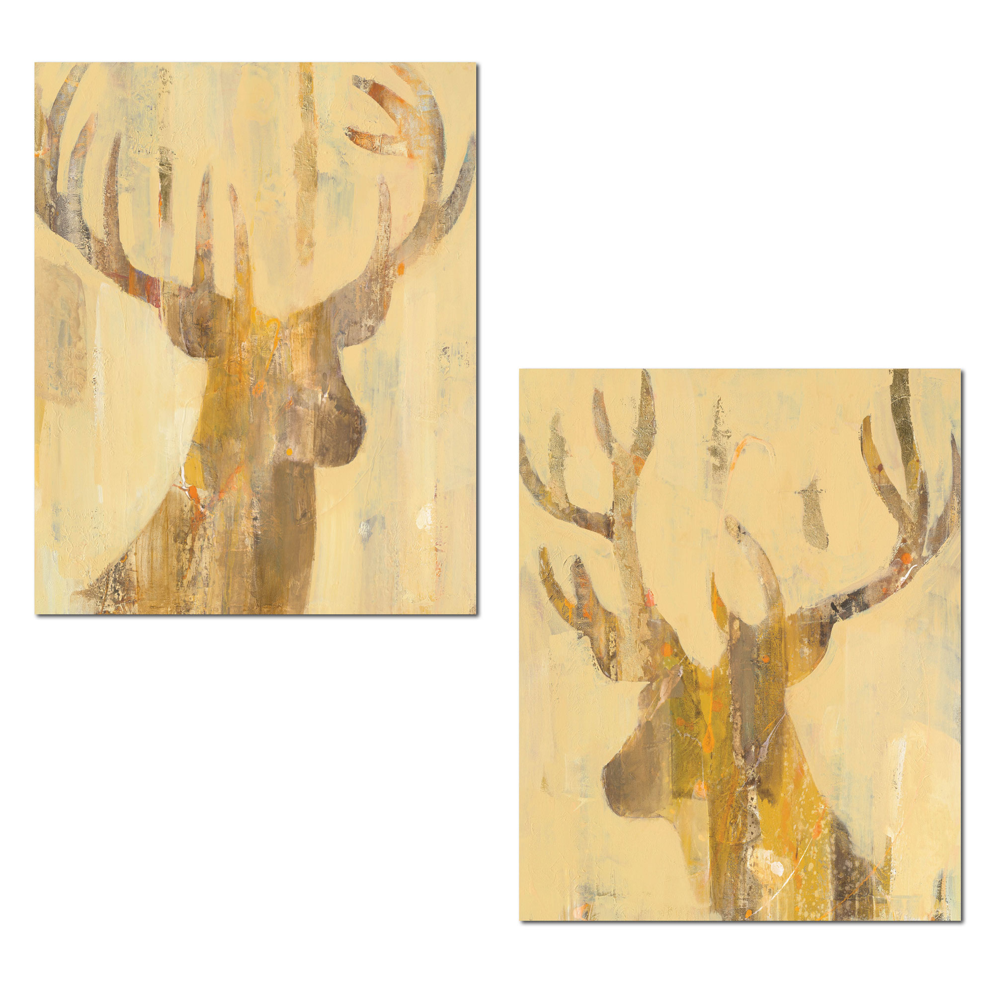 Rustic Contemporary Abstract Deer and Buck Silhouettes by Albena ...