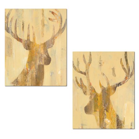 Rustic Lodge Deer - Rustic Contemporary Abstract Deer and Buck Silhouettes by Albena Hristova; Lodge Decor; Two 11x14in Unframed Paper Posters (Printed on Paper, Not Wood)