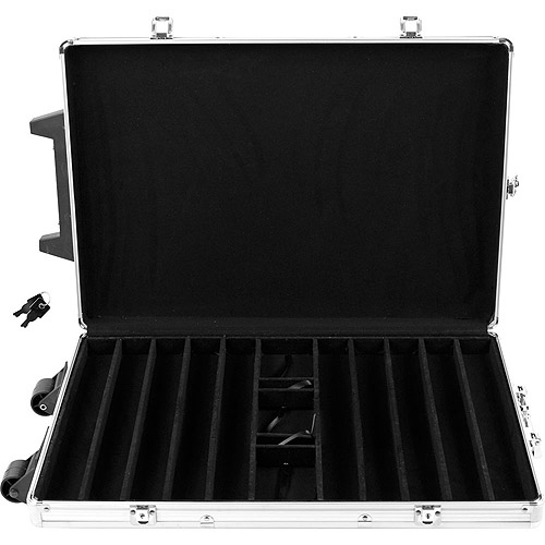 Trademark Poker 1000 Capacity Chip Case Trolley,  Aluminum With Wooden Insert