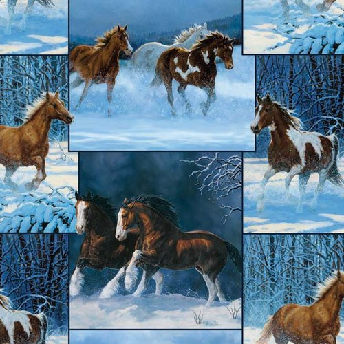 "Springs Creative Wild Wings Horse Patch 44"" wide Fabric by the Yard"