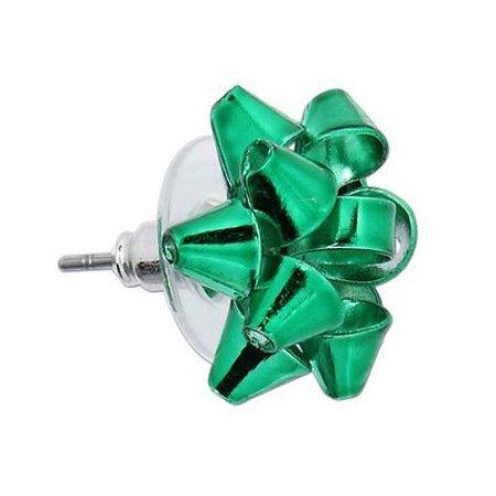 Green CHRISTMAS BOW EARRINGS, Metal Bows, Periwinkle by Barlow