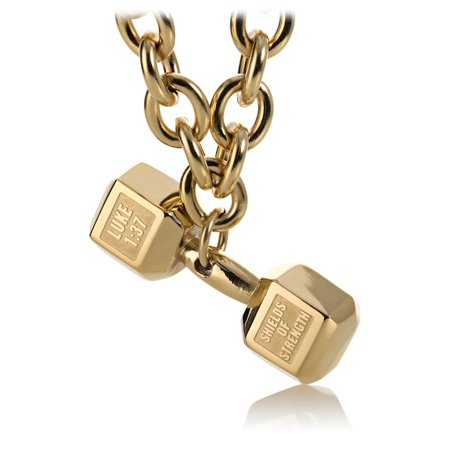 Gold Stainless Mens JUMBO Dumbbell on Linked Chain Necklace