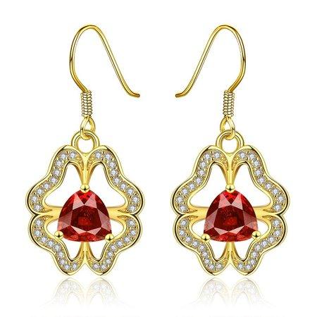 LKN18KRGPE902 18K White Gold Plated Laser Cut Emblem with Crystal Earrings