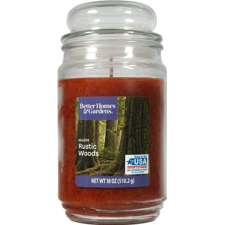 Better Homes & Gardens Warm Rustic Woods Single-Wick 18 oz. Jar Candle (Warm Glow Candle Outlet)