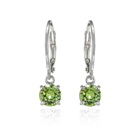 Sterling Silver Light Green 6mm Round Dangle Leverback Earrings Made with Swarovski Crystals