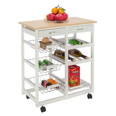 Kitchen Carts, Microwave Oven Stand Storage Cart on Wheel with 2 Drawers, 3 Metal Baskets, 3 Shelf Panels, Microwave Cabinet with Storage, Rustproof Pine and PVC Panels Bakers Rack, Q3481 ()