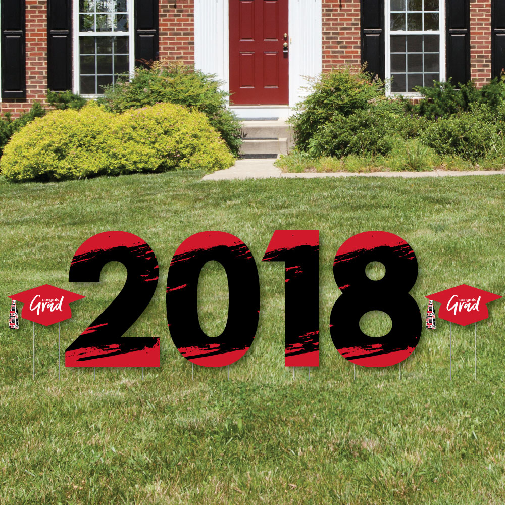 Red Grad - Best is Yet to Come - 2018 Yard Sign Outdoor Lawn Decorations - Red Graduation Party Yard Signs