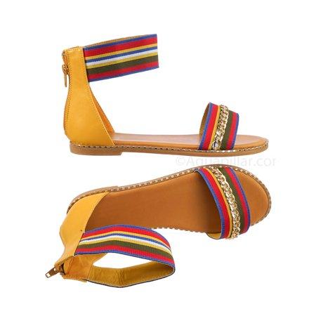 Minimal71 by Bamboo, Rainbow Strap Micro Stud Flat Sandal - Metal Chain Stud Midsole Trim (Rainbow Sandals Thin Strap)