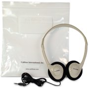 Califone CA-2 Lightweight On-Ear Stereo Headphones with Resealable Storage Bag, 3.5mm Plug, Beige, Each