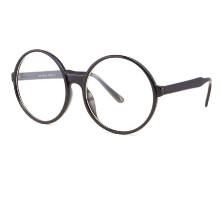 Clear Lens Oversized Huge Large Round Cosplay Glasses Black Plastic (Clear Glass Eyeglasses)