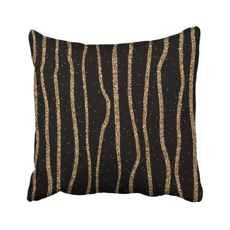 - ARTJIA Black Shiny With Gold Glitter Lines With Glittering Yellow Metal Stripes For Christmas Pillowcase Throw Pillow Cover 16x16 inches