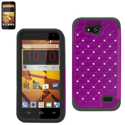 Diamond Hybrid Protector Cover Zte Speed N9130 Black Purple