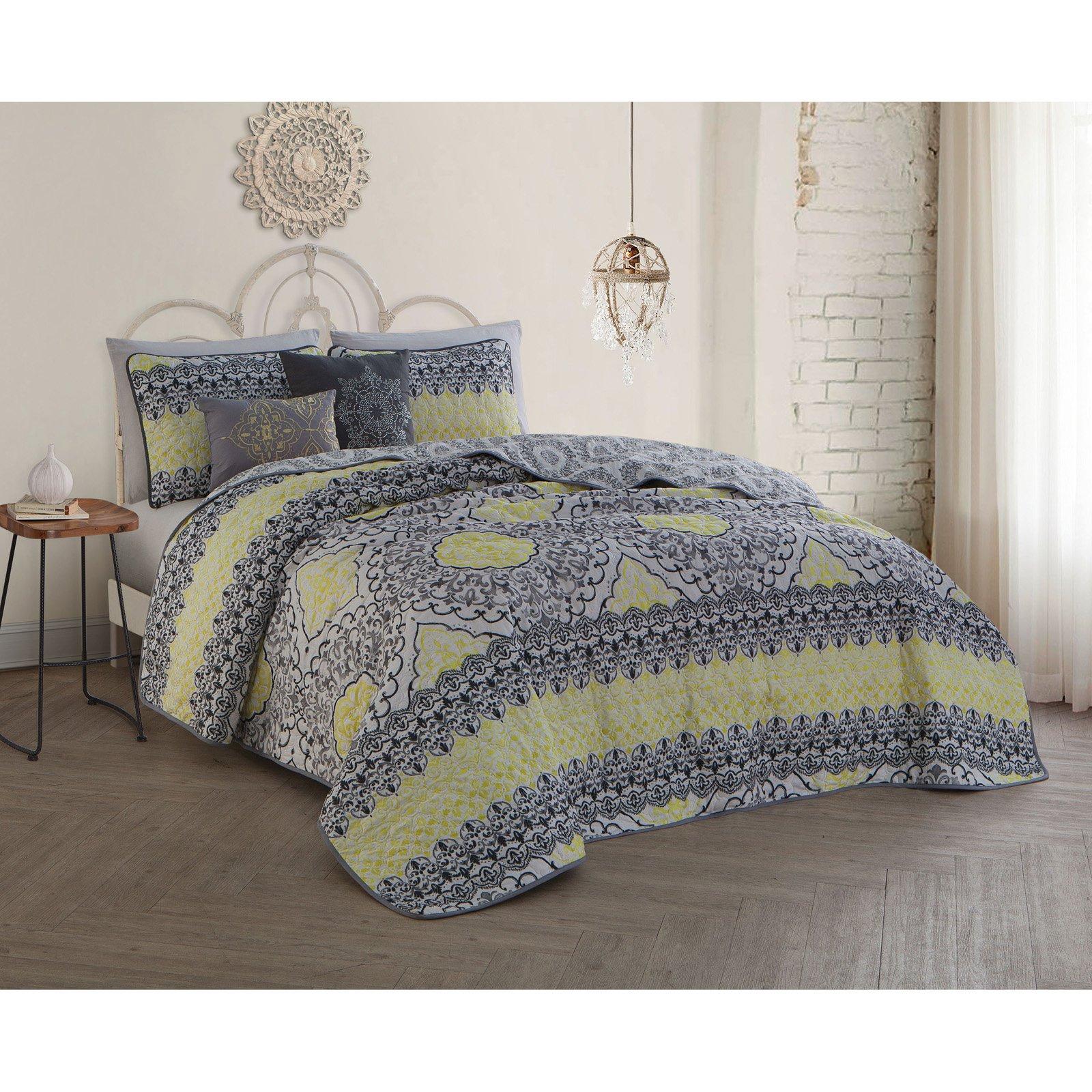 Avondale Manor Celia 5pc Quilt Set - King - Grey/Lime
