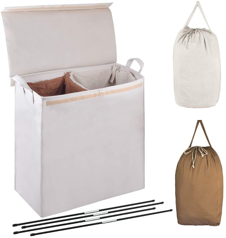 3 Sections Laundry Hamper Basket with Handle Folding Aluminum X-Frame 25 L/×15 W/×22 H Durable Dirty Clothes Sorter Bag for Bathroom Bedroom Home,Three Color