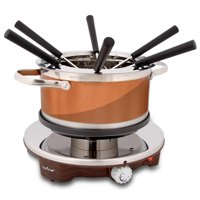 NutriChef PKFNMK25 - Electric Melting Pot - Fondue Maker with Dipping Forks, Stainless Steel
