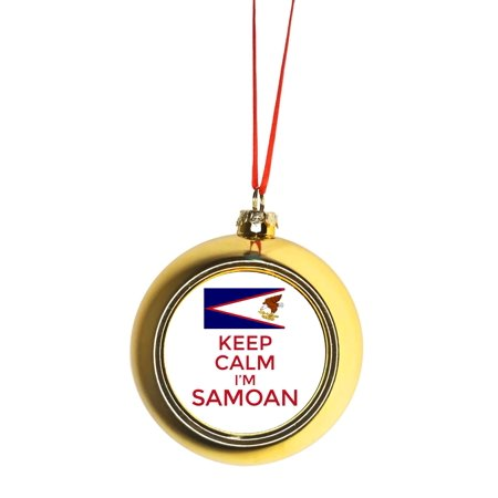 Keep Calm I M Samoan Flag American Samoa Gold Bauble Christmas