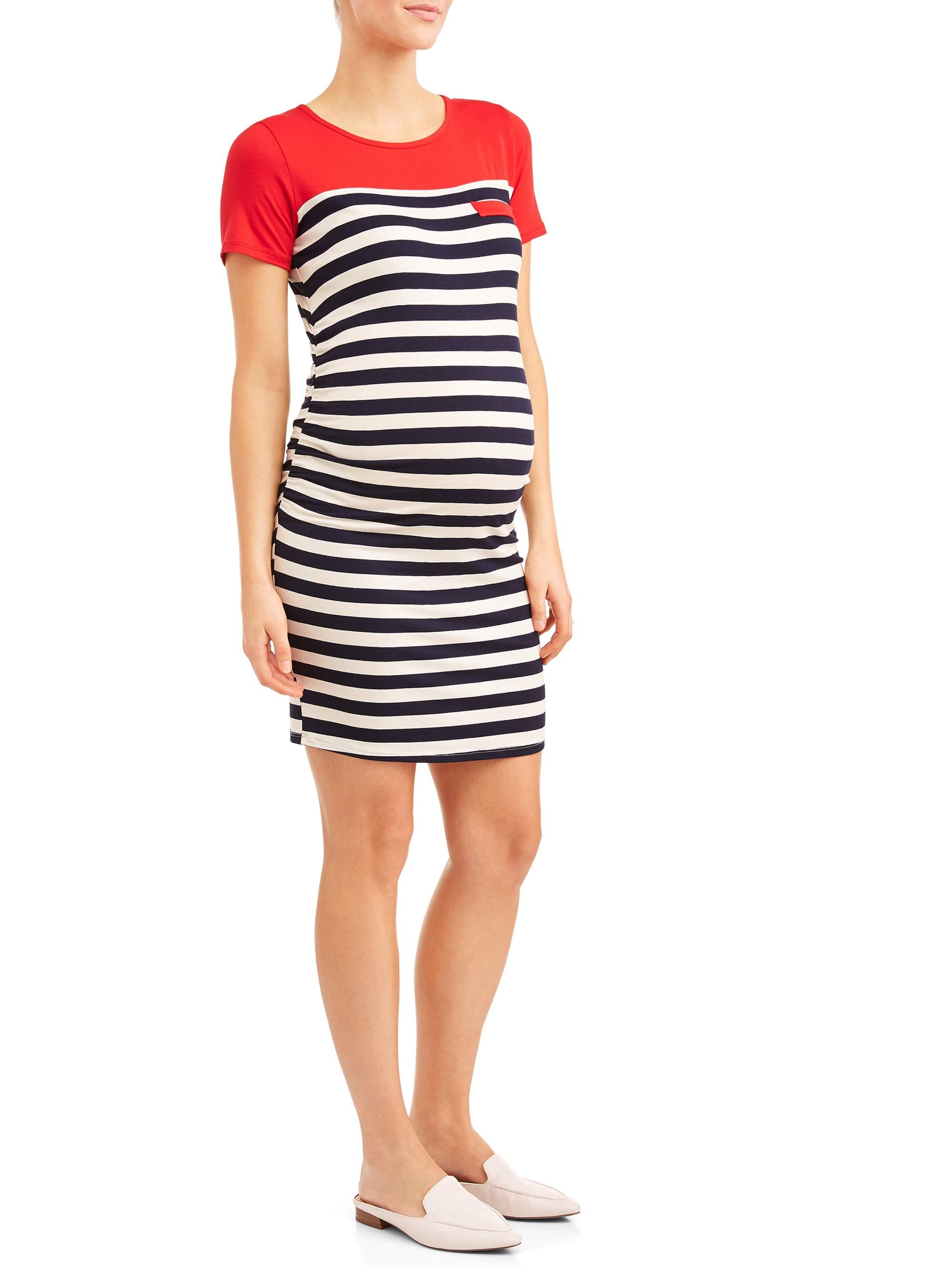 Maternity Stripe Body Con Midi Dress