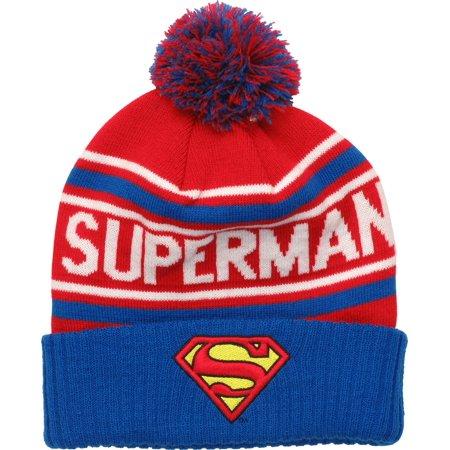 Superman Logo Name Wrap Pom Beanie](Superman Beanie)