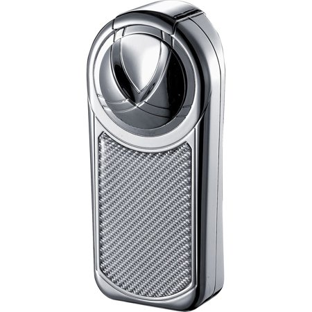 Visol  Dobrev III Chrome and White Carbon Fiber Triple Torch Flame Cigar Lighter - Ships Degassed