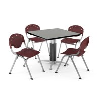 """OFM Core Collection Breakroom Bundle, 42"""" Square Metal Mesh Base Multi-purpose Table in Gray Nebula, 4 Rico Stacking Chairs in Burgundy (PKG-BRK-024-0009)"""