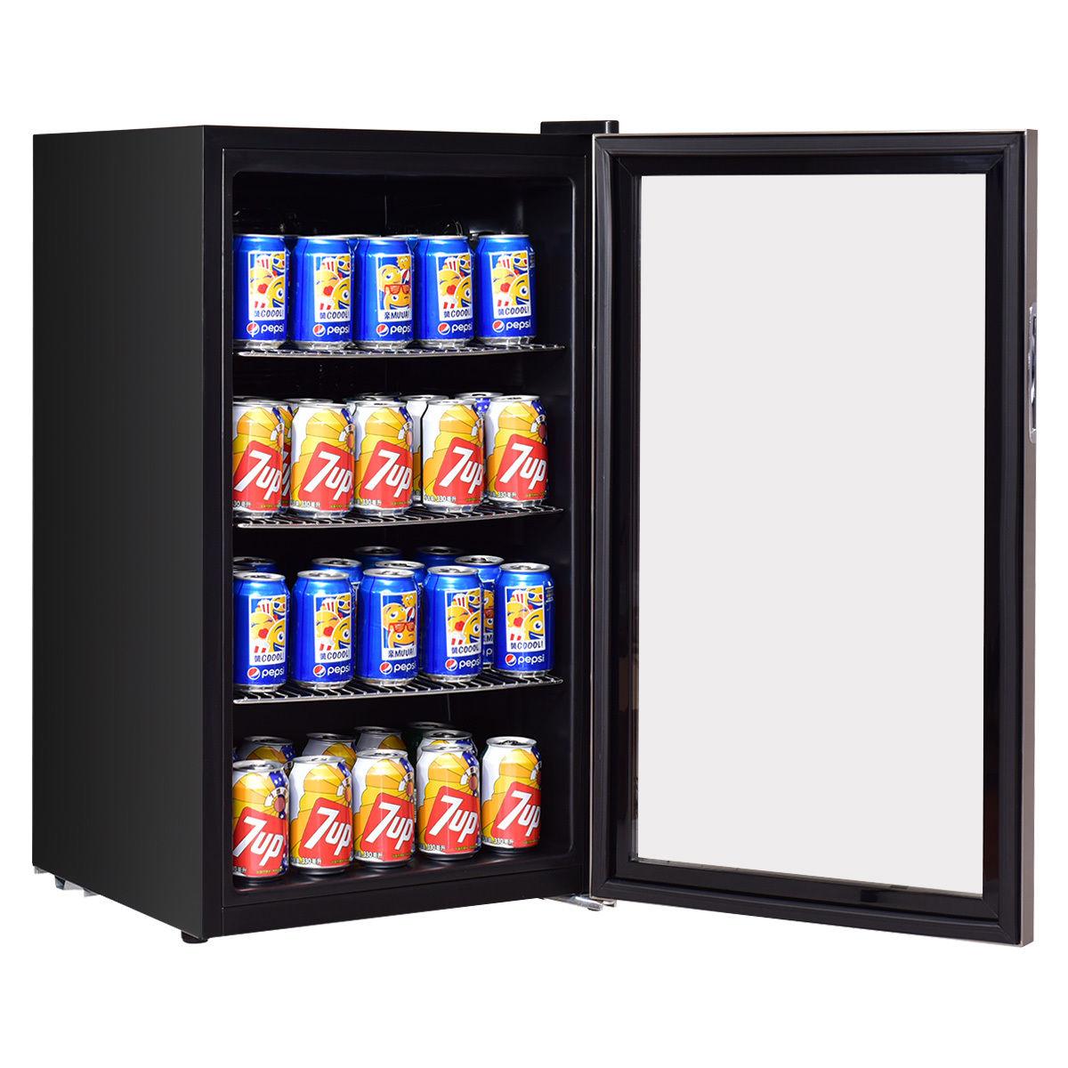 Costway 120 Can Beverage Refrigerator Beer Wine Soda Drink Cooler