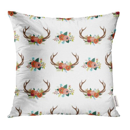 CMFUN Floral Antlers in The Bohemian Deer Horns Decorated with Flowers Leaves Pillowcase Cushion Cases 18x18