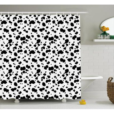 Animal Shower Curtain Graphic Black And White Fancy Dalmatian Fur Inspired Skin Print Texture