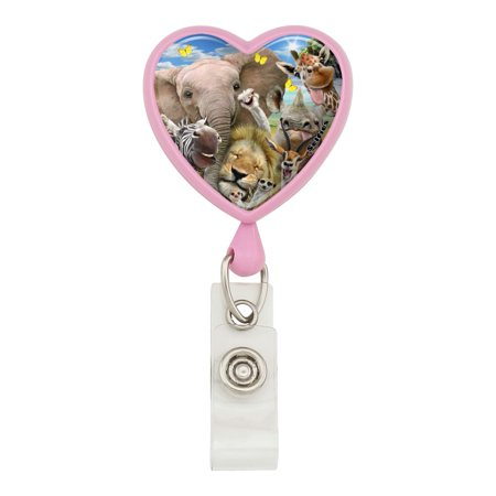 Animal Lanyards (Africa Animals Selfie Giraffe Elephant Lion Zebra Heart Lanyard Retractable Reel Badge ID Card Holder -)