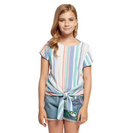 Girl's Striped Tie-Front Top