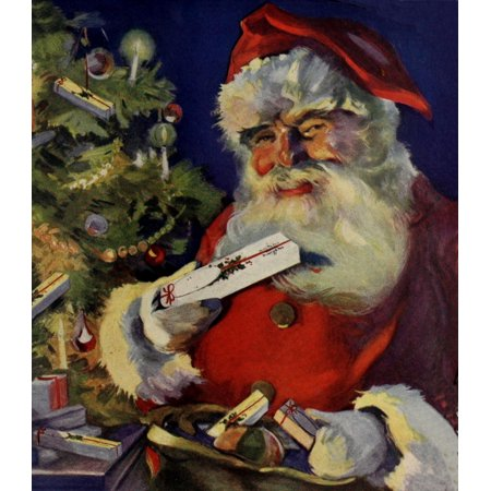 Canadian Home Journal 1922 Santa in ad for Watermans Fountain pens Canvas Art - Unknown (24 x 36)