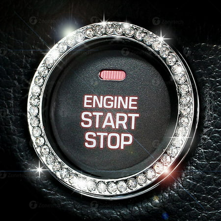 Chrystal Bling Ring Emblem Sticker- Rhinestone Start Engine Ignition Button-Car Key Knob Interior Gift-Push Button Auto Decorative Decal-Unique Silver Sparkly Vehicle (Shelby Dash Emblem)
