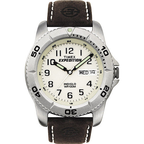Timex Men's Expedition Traditional Watch, Black Leather Strap