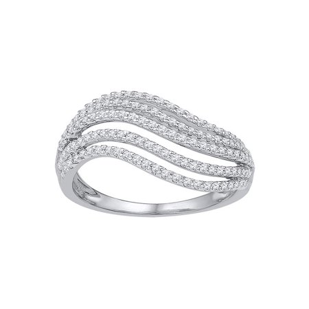 10kt White Gold Womens Round Diamond Striped Band Ring 1/2 Cttw - image 1 de 1