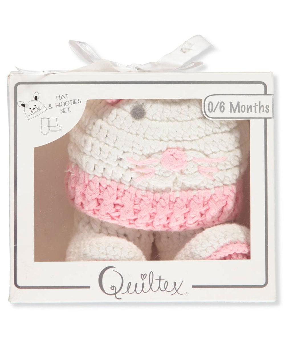 Quiltex Baby Girls' Hat & Booties Set