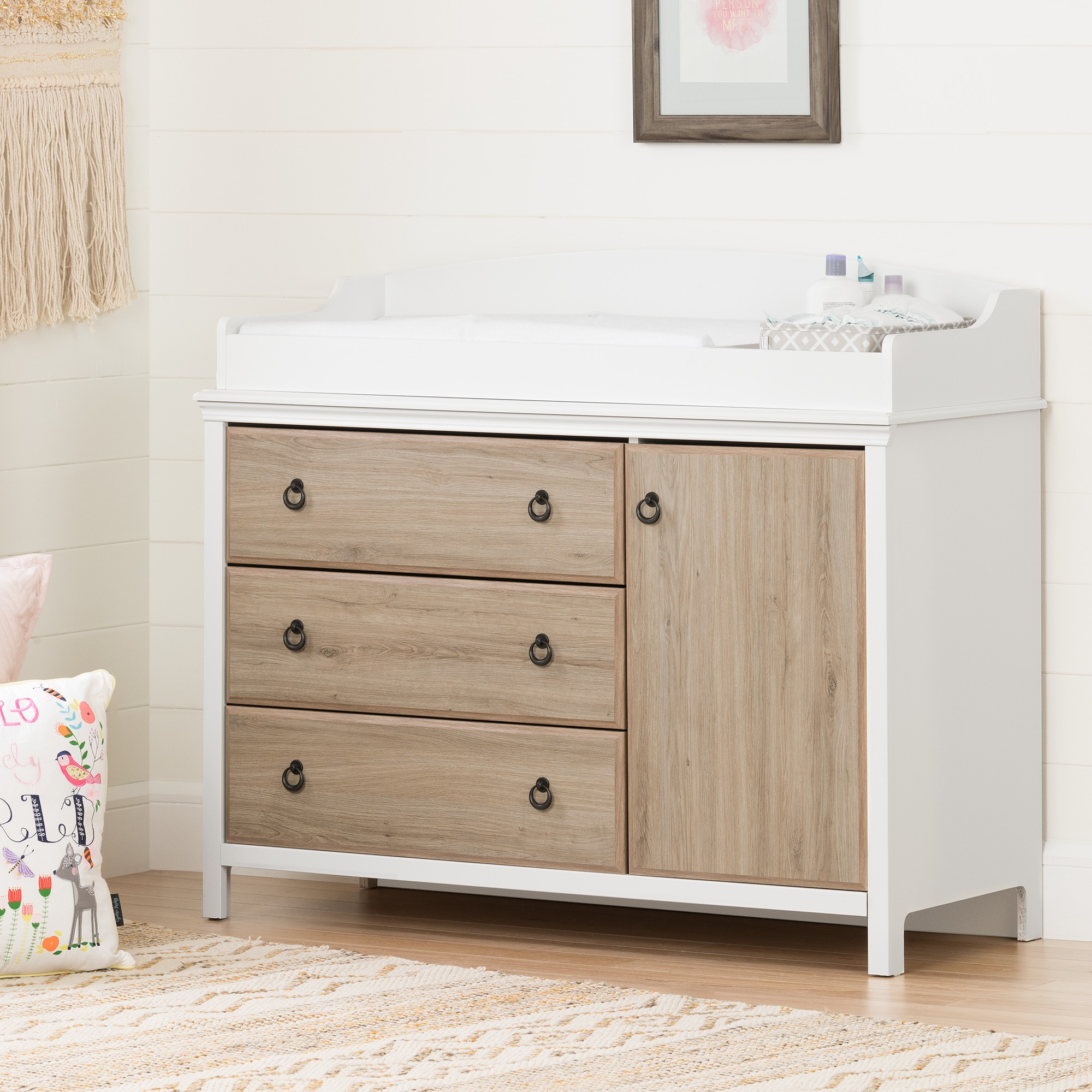 South Shore Catimini Changing Table with Removable Changing Station, Pure White and Rustic Oak by South Shore Furniture