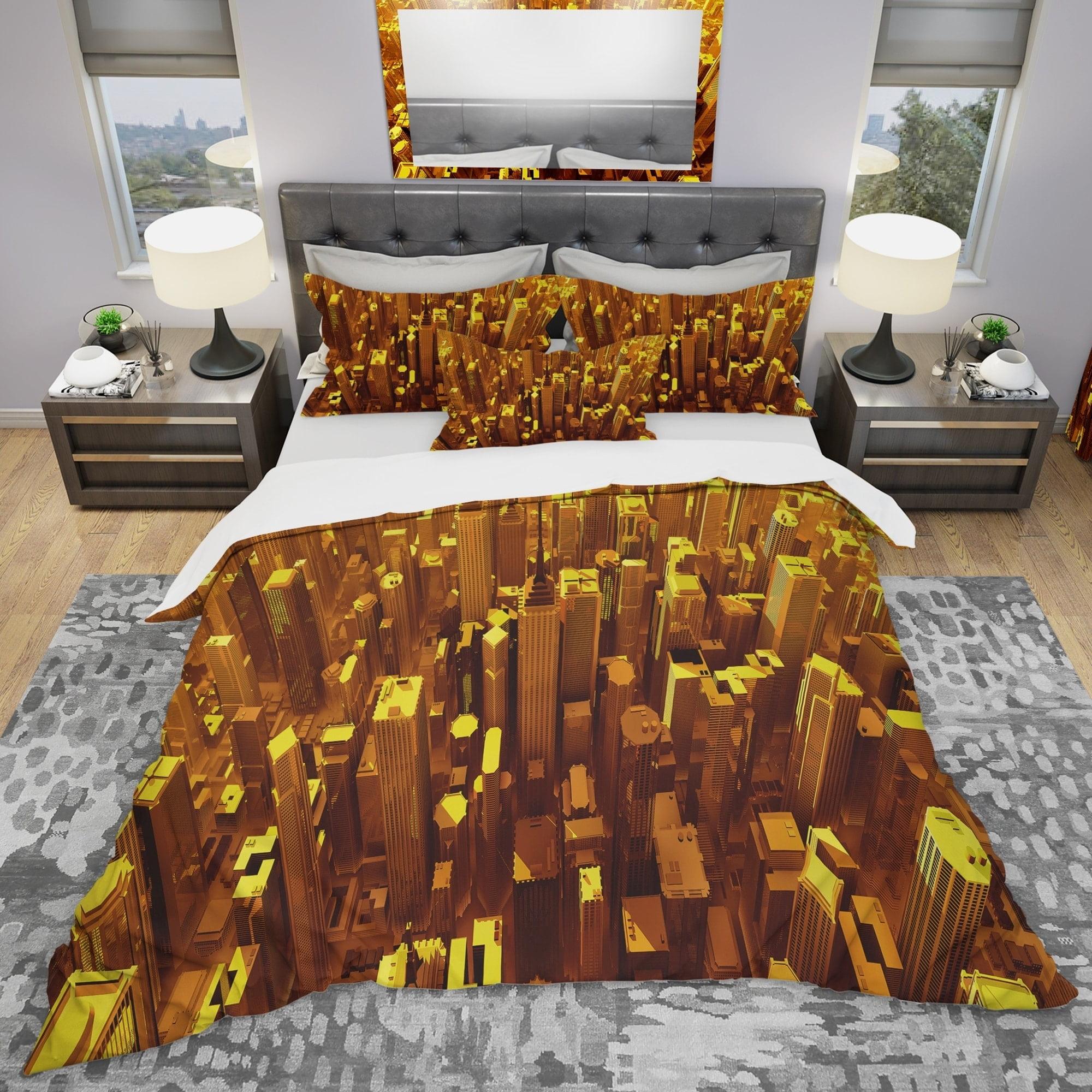 DESIGN ART Designart 'Golden City From The Sky' Modern & Contemporary Bedding Set - Duvet Cover & Shams
