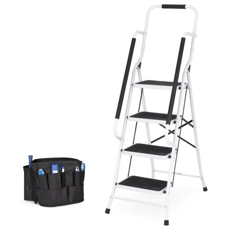 Steel Fixed Ladder - Best Choice Products 4-Step Portable Folding Anti-Slip Steel Safety Ladder w/ Padded Handrails, Attachable Tool Bag, Knee Rest - White
