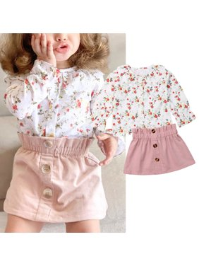 Toddler Baby Girl Floral Clothes Long Sleeve Tops Blouse Dress Skirt 2PCS Outfit