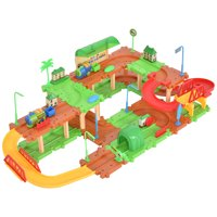 GHP 69-Pcs ABS Plastic Children Electronic Railway Train Brick Building Blocks Toys