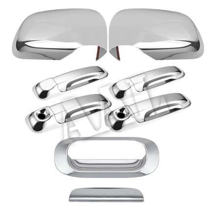 AAL Premium Chrome Cover Combo For 2005 2006 2007 2008 2009 2010 DODGE DAKOTA 4 Doors HANDLE With Keyhole+MIRRORS+TAILGATE Dodge Dakota Tailgate Handle