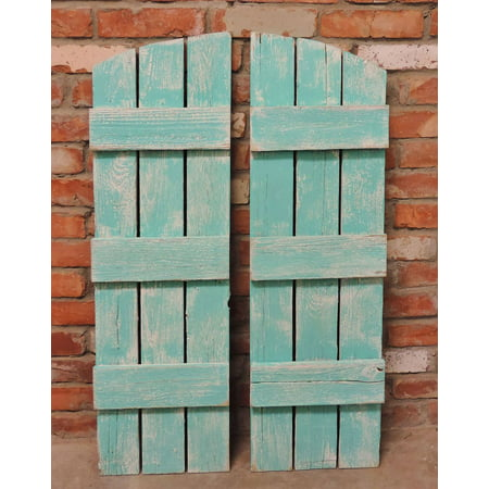 AllBarnWood Rustic Shutters for Arched Mirror Turquoise and White