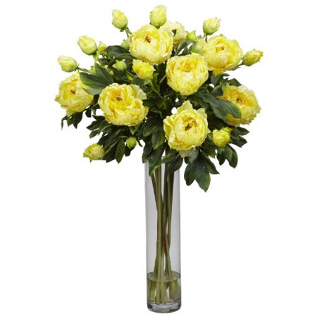 Nearly Natural 1230-YL Peony with Cylinder Silk Flower Arrangement, Yellow - image 1 of 1