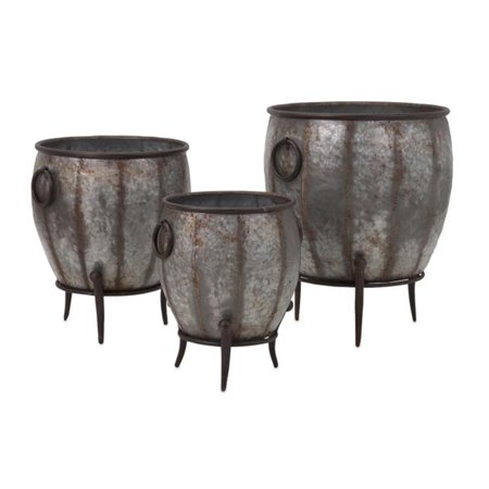 Set of 3 Zen Garden Galvanized Metal Footed Outdoor Flower Planter Tubs 21.5