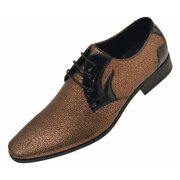 Amali Mens Metallic Speckled Formal Tuxedo Oxford Dress Shoe with Black Patent Detail