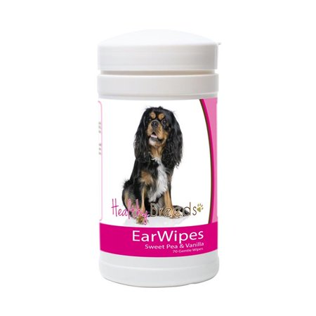 healthy breeds dog ear cleansing wipes for cavalier king charles spaniel - over 100 breeds - cleans dirt wax yeast - 70 count - easier than drops wash or rinses - help prevent infection &