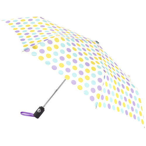 Isotoner Totes Aoc Umbrella  Blue Yellow Dots