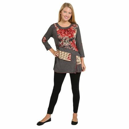7382240a77e Parsley & Sage - Women's Tunic Top - Parsley & Sage Gray Fig Leaf 3/4  Sleeve Shirt - Walmart.com