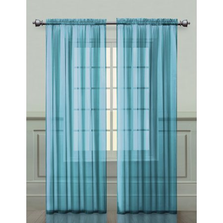 Two (2) Aqua Sheer Rod Pocket Window Curtain Panels: 108