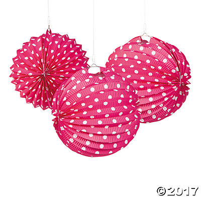 Hot Pink & White Polka Dot Hanging Paper Lanterns