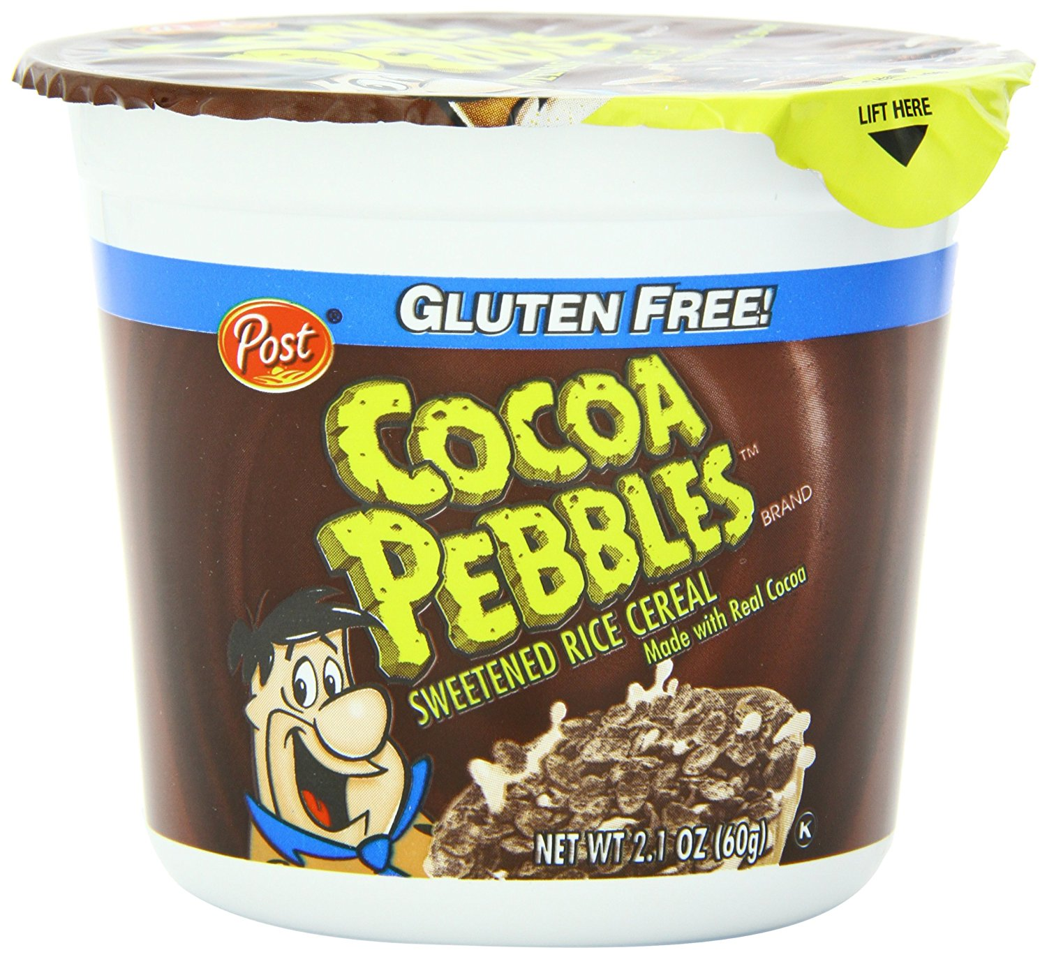Post Cocoa Pebbles Cereal, Chocolate, 2.1 Oz, Cup (Pack of 4)